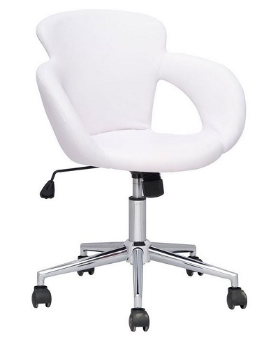 "CHAISE TABOURET A ROULETTES ""CONFORT LUXE"" blanc"