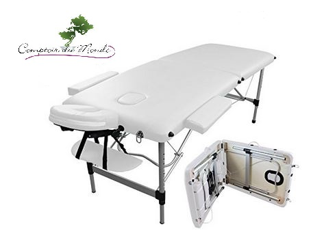 TABLE DE MASSAGE PLIABLE ALU LIGHT CUIR CREME