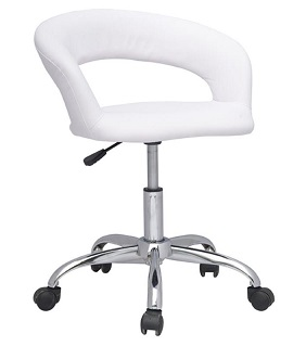 CHAISE TABOURET A ROULETTES IRISA BLANC